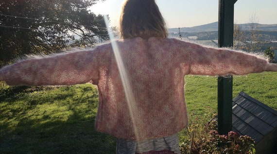 Woman cardigan, Pinky Fluffy Mohair Jacket - image 2