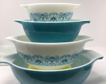 Vintage 1969 Pyrex Blue Horizon Cinderella Mixing Bowls 441 442 443 and 444