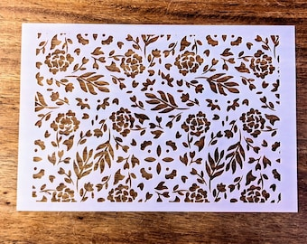 Floral Leaf Pattern Reusable Texture Stencil Screen for Polymer Clay and Art/Craft