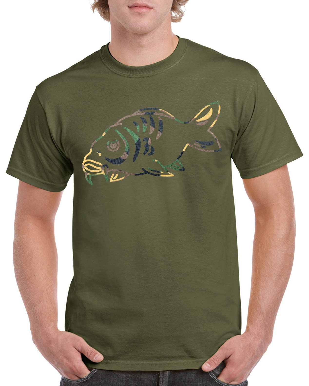 FISH LOGO Carp fishing logo t shirt  ideal gift for fisherman