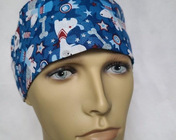PATRIOTIC dog PIXIE hat surgical scrub hat theatre cap
