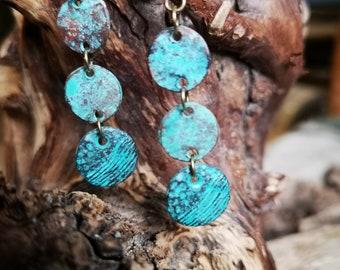 Seashell Earrings USA #7 Turquoise patina Antique bronze Framed metal seashells Turquoise glass drop bead
