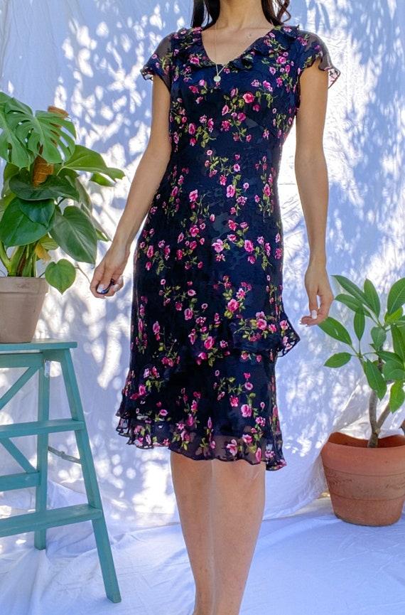 Romantic Floral Print 80s Vintage Ruffled Dress