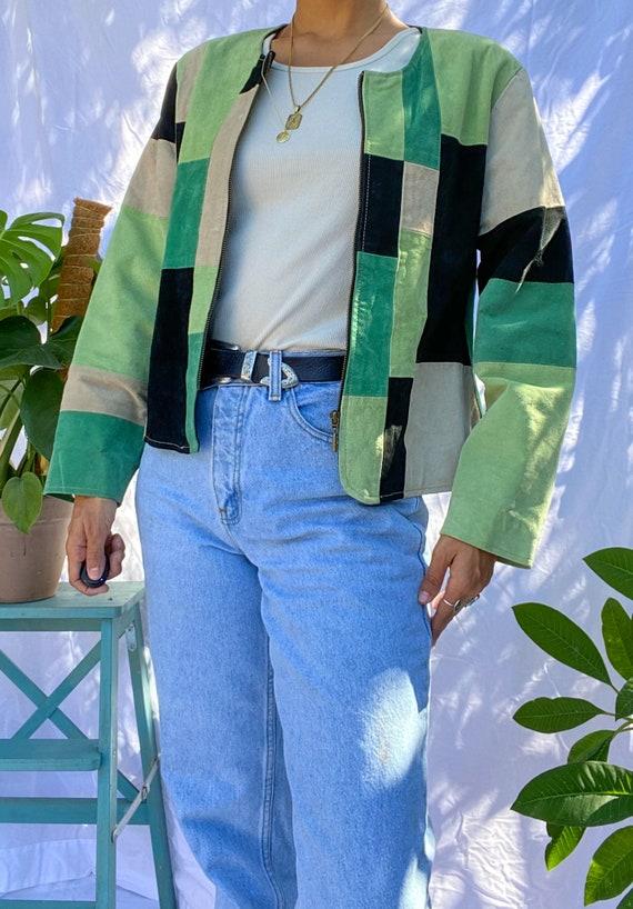 Vivid Green Vintage Patchwork Suede Jacket
