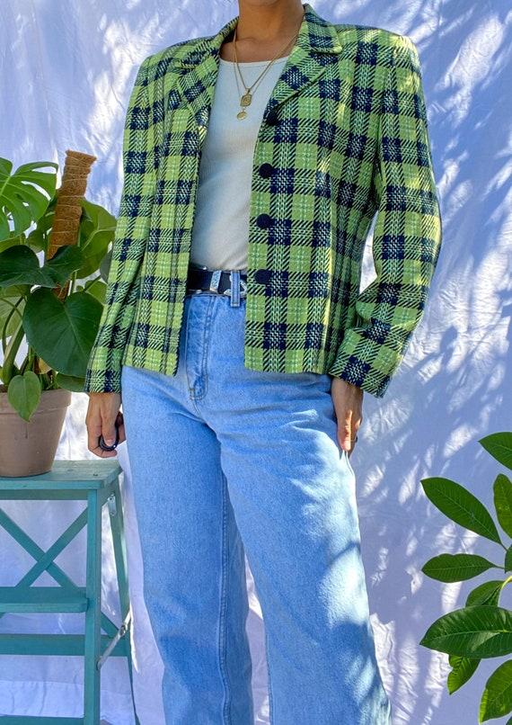 Vintage 80s Mint Green Plaid Blazer