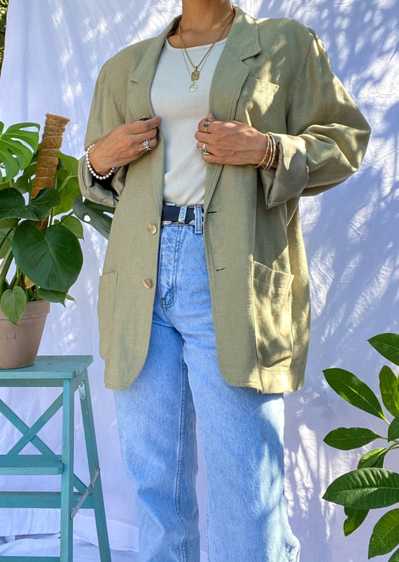 Sage Green 80s Vintage Linen Blazer