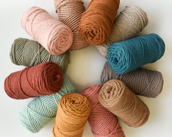 Combed cotton rope 3 mm, modern colors, sold by the meter, single twist macramé rope 3 mm, cord for weaving.