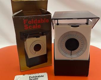 Foldable scale, vintage kitchen scale, vintage retro scale, in original box with original leaflet