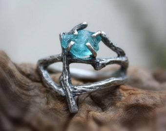 Fine Silver Branch Ring UK Handmade Jewellery Acorn Twig ring Raw Apatite ring