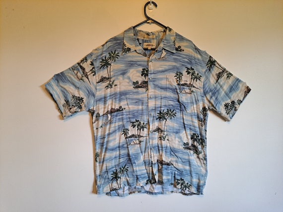 BLUE TROPICAL HAWAIIAN Shirt Campia Moda -  Made i