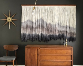Mountain Art Wall Hanging, Large Hand Dyed Tapestry, Bohemian Macrame Wall Art, 100% Cotton Rope Woven Wall Hanging, Without Wood Stick