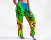 Pantalon de détente coloré - Jogging relax, ample, confo cousu à Montréal avec dessin imprimé - Pantalon unisexe élastique bohème, hippie