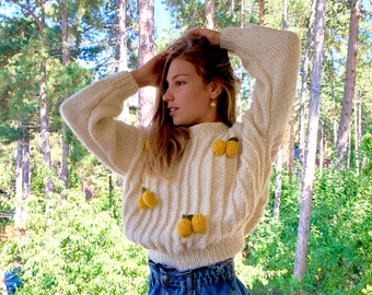 Chunky Striped Knit Sweater Vintage 1980s White Rainbow   Etsy