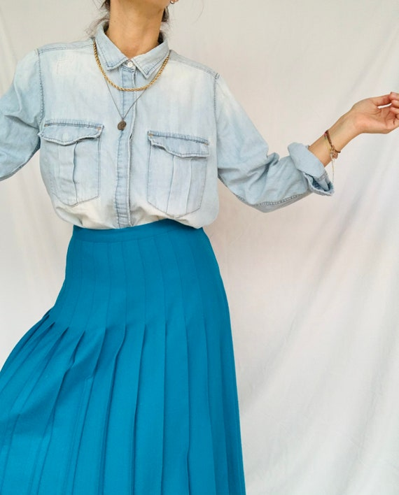 Combed wool pleated skirt
