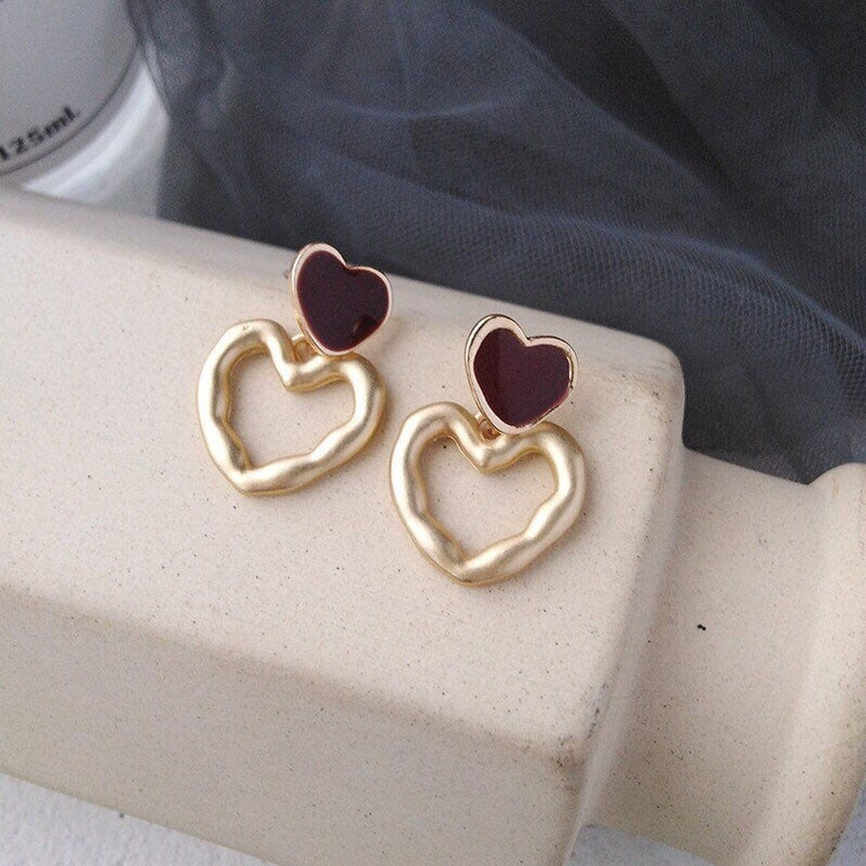 earrings studs sterling silver,925 silver cute double golden colour and red hearts stud earrings-minimalist-cute gift for girls-