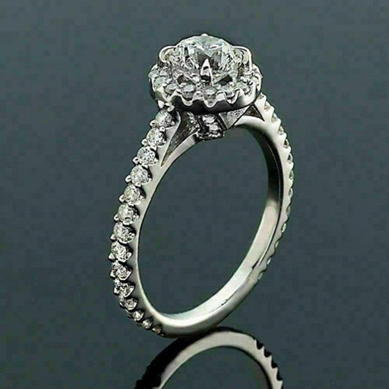 Solitaire With Accent RingHalo Wedding Bridal RingEngagement RingsGift For HerFancy Ring2.00 CT Round Diamond925 Silver14K White Gold