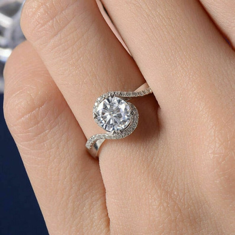 Solitaire Bypass RingHalo Engagement RingWedding Bridal RingsProposal RingGift For Her2.50 CT Round Diamond925 Silver14K White Gold