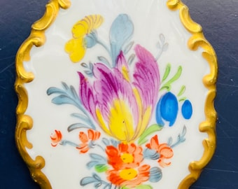Rosenthal Hand Painted Porcelain Pendant - Signed Marktredwitz Germania- Vintage - Gold Edge and Painted Flowers