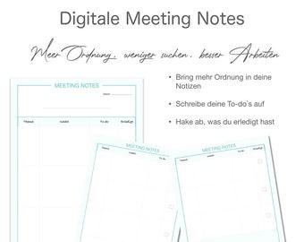 Digital Meeting Notes Mint - Deutsch