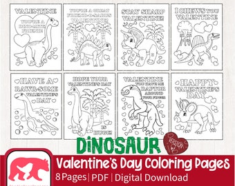 Valentines Coloring Pages - Dinosaur Coloring Pages - Valentine Coloring Pages for Kids - Valentines Coloring - Valentines Day Activity