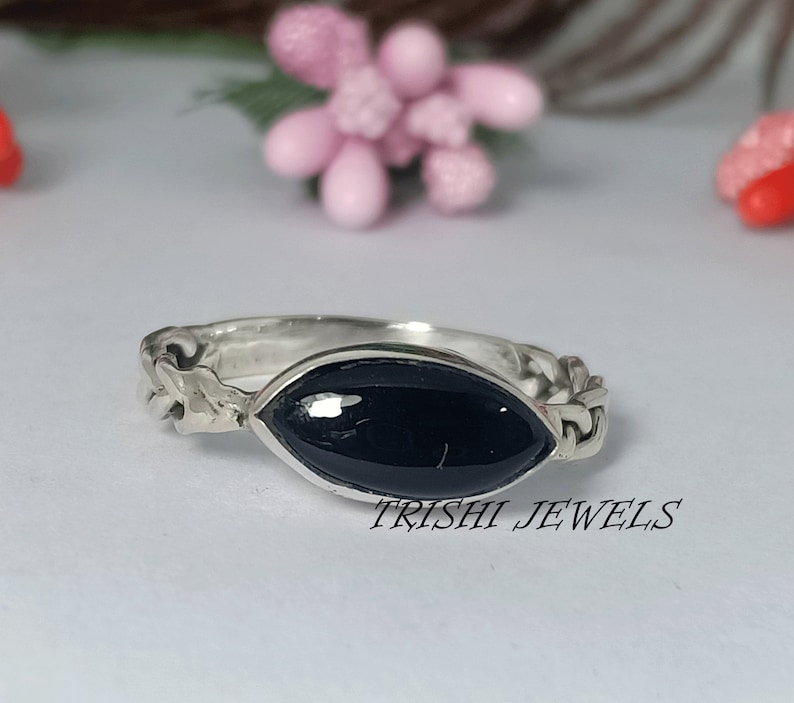 Black Onyx Marquise Shape Gemstone Ring Black Onyx Ring Silver Ring Rings For Women Onyx Jewelry Gift For Her 925 Sterling Silver