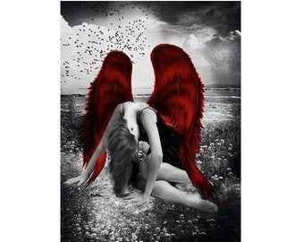 5D DIY Diamond Painting Kit Beautiful Broken Angel with Red Wings 45x55cm Canvas