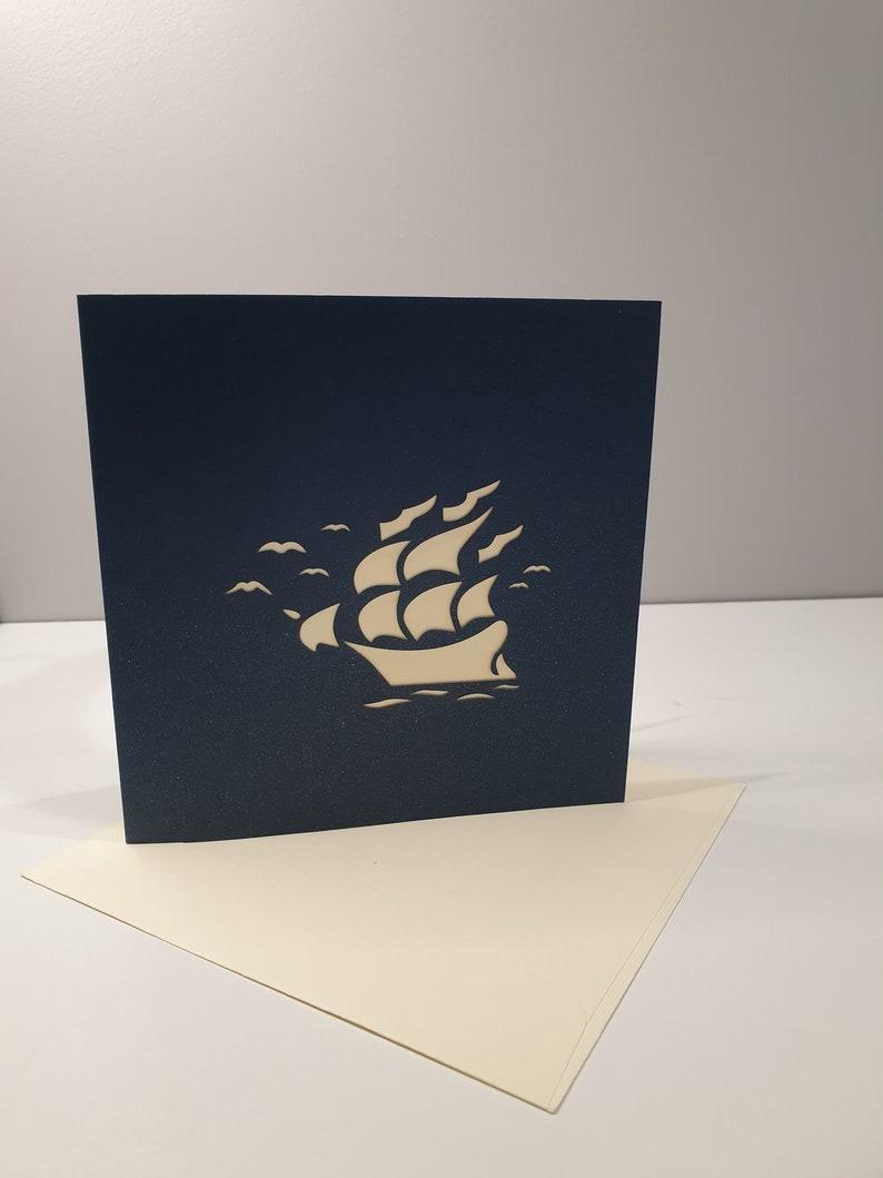 Ship Dark Blue 3D Pop Up Card