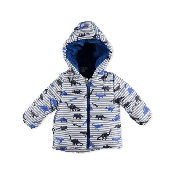 Baby toddlers padded hodded striped #blue grey Car