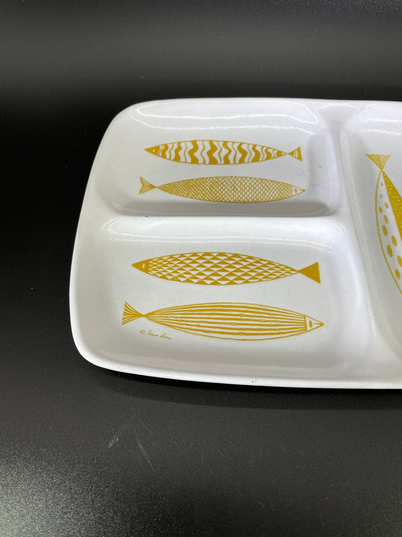 Iconic Fred Press Divided Plate Fish Glidden Pottery #300 WhiteYellow MCM Mid Century Vintage Ceramic