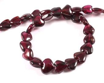 Top Quality Natural Handmade Loose Gemstone Beads Garnet Faceted Heart Shape Briolette Size 6-7 MM Strand 8