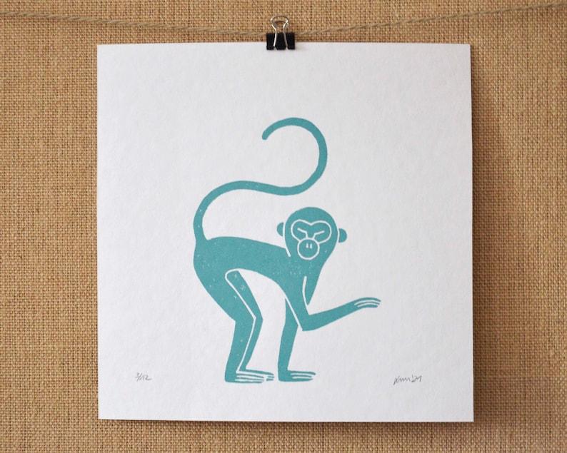 Monkeys Original linocut print limited to the Teal