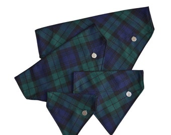 Black Watch Tartan Dog Bandana / highland / traditional / neckerchief / neck wear / dapper dog / stylish dog / dog accessories