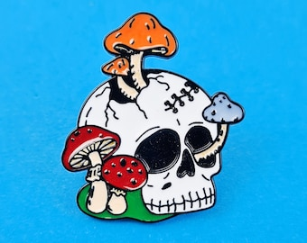 Funny Skeleton Skull Enamel Pin Goth Gothic Grunge Witch Badge Lapel Jewelry