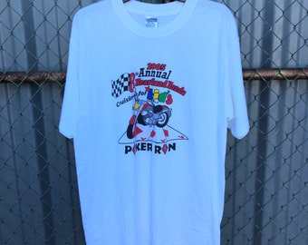 KY single stitch crop top tee shirt size large Vintage 90s Snake Pit 4th annual poker run 1997 Spurlington