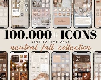 100,000+ IOS14 Natural Fall App Icons, Neutral Aesthetic, Icons Bundle, IOS15 App Covers, IOS Themes, Icons iPhone Beige Neutral Boho Autumn
