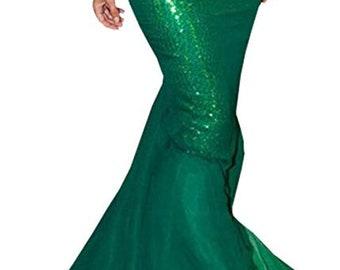Women Regular/Plus Size High Waist Sequins Mermaid Long Tail Skirt