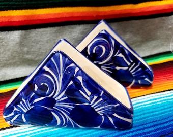 Set of 2   Blue White Spanish Napkin Holder   Ceramic Napkin Holder