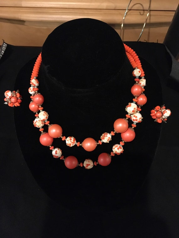 Magnificent Vendome Orange and White Beaded Neckla
