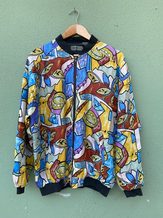 vintage 90s abstract silk jacket by Robert Stock