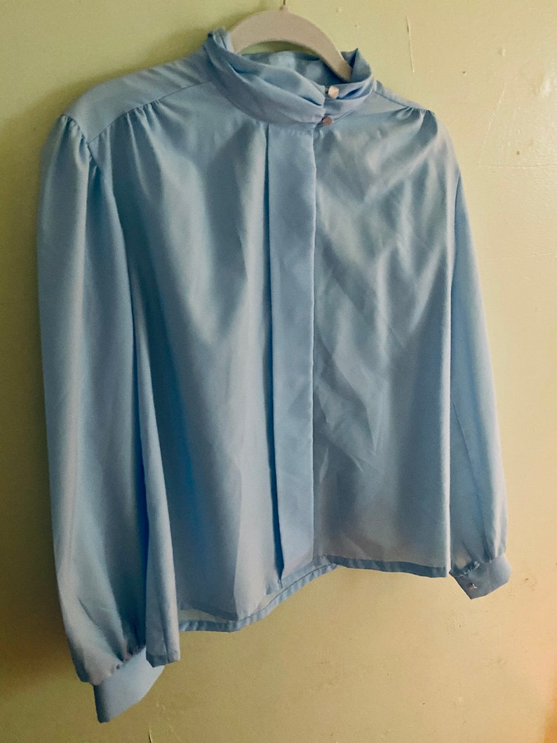 Vintage Cinderella blue 70s80s puff sleeve blouse  ML airy semi sheer high neck top
