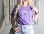 Model Mockup Heather Team Purple Bella Canvas 3001 T-Shirt Digital JPG Tee Mockup