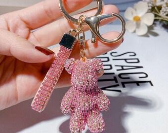 Sequin Motifs Bear Pendant Keychain Handbag Keyring Key Chain Charm Gift DeTPI
