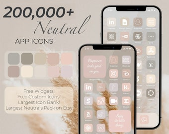 200,000+ High Resolution iOS Neutral Beige White Icons Pack   iPhone IOS 14 App Aesthetic   Free Custom Icons  IOS14 Home Screen Widgets