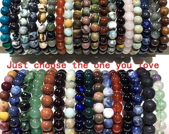Natural Gemstone Beads Bracelet, Handmade Men Women Stretchy Bracelet, Genuine Gemstone Round Beaded Healing Crystal Bracelet (7.5 Inches)