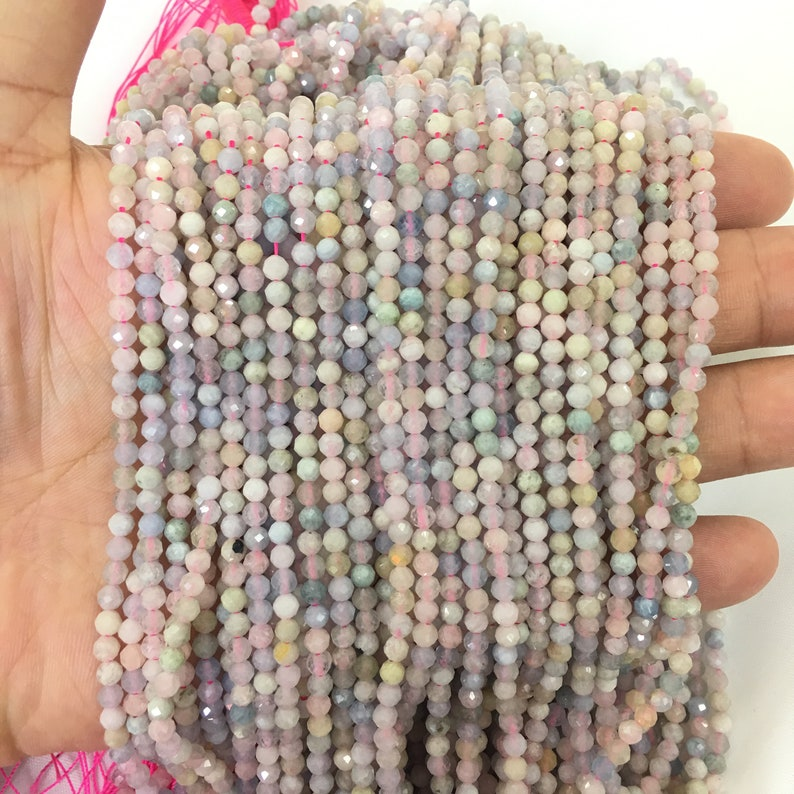 2mm 3mm 4mm Natural Morganite Beads Faceted Round Shape for Bracelet Necklace Diy Jewelry Making Gemstone Spacer 15inch,Faceted Morganite