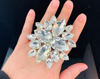 Cubic Ring  Cocktail Dress Ring  Adjustable back  Gift  Drag Queen Ring Costume Jewellery