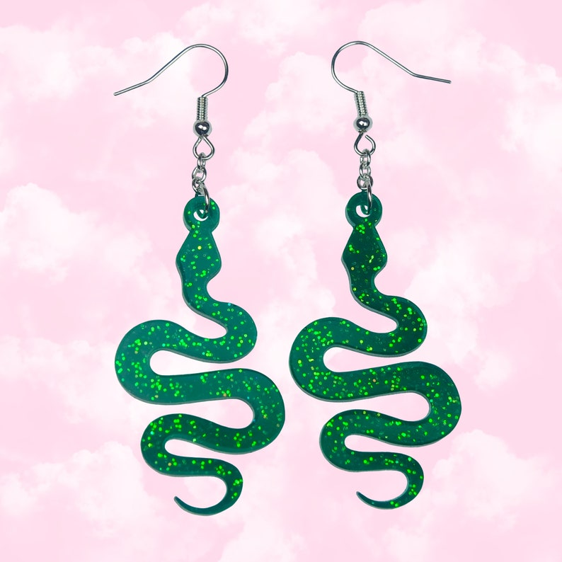 Glittery Snake Earrings