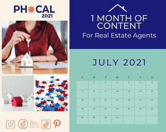 July 2021 Social Media Content Calendar for Real Estate Agents