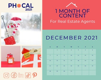 December 2021 Social Media Content Calendar for Real Estate Agents