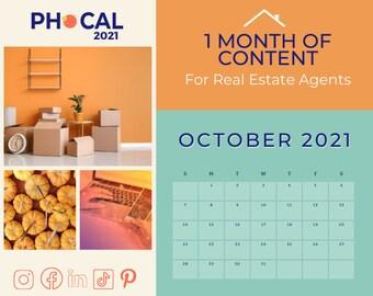 October 2021 Social Media Content Calendar for Real Estate Agents